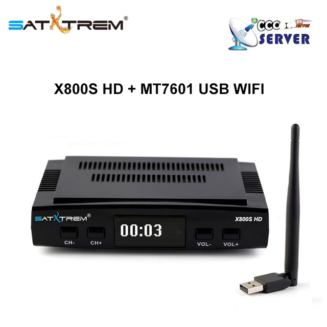 PK Freesat V7 HD X800S Satellite TV Receiver decoder DVB-S2+USB Wifi Receptor with 5 line Europe Clines account support powervu