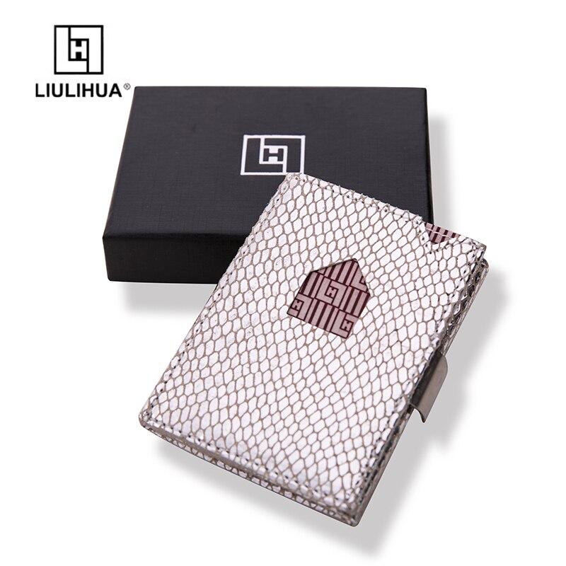 Porte-carte de crédit à la mode LLH petits porte-cartes rfid bloquant le mini portefeuille en cuir véritable porte-carte de Bus minimaliste