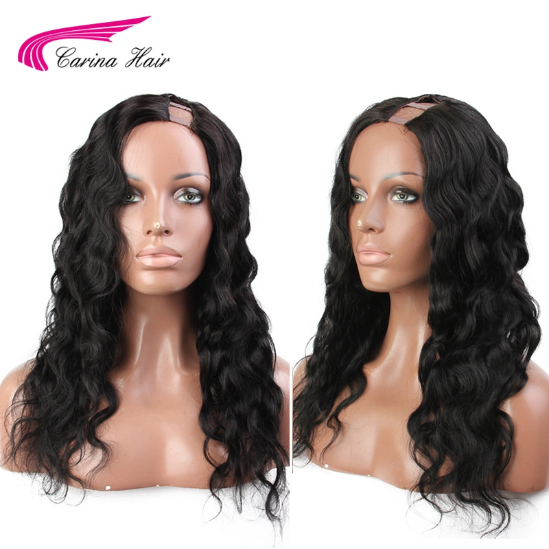 Carina Brazilian Body Wave 2*4 Size U Part Lace Front Wigs None Lace Remy Human Hair Wigs With Natural Hairline U Part Wigs