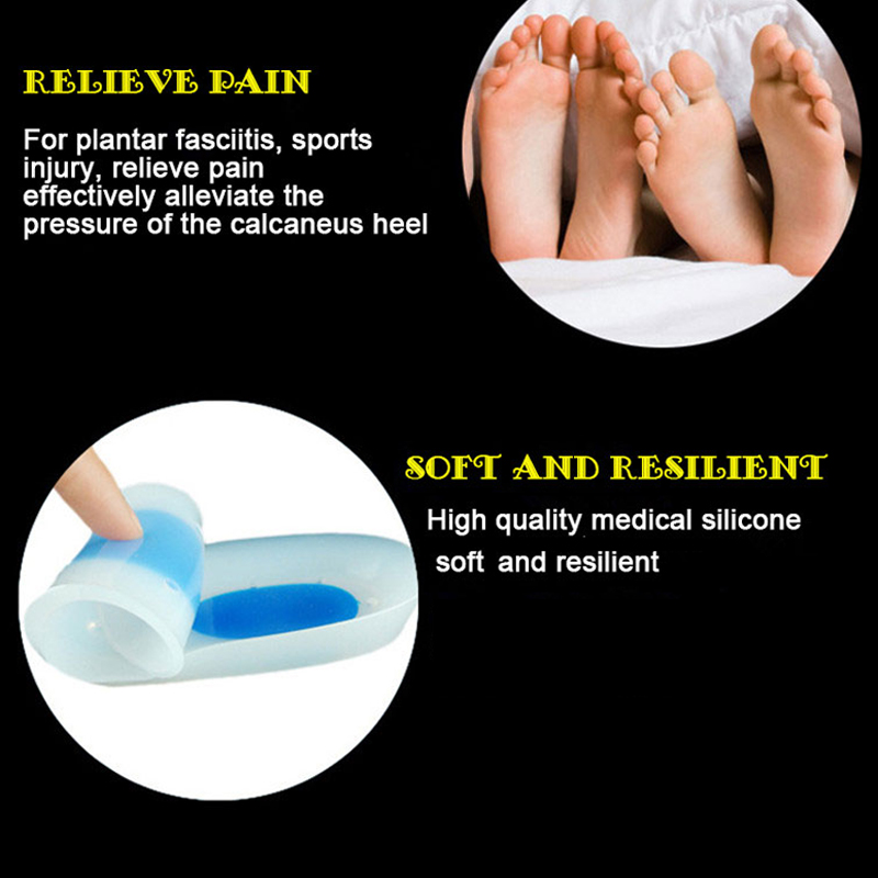 3/4 Length Medical Grade Silicone Insoles Foot Heel Spurs Achilles Tendon Relief Feet Care Shoe Pads plantar fasciitis templates