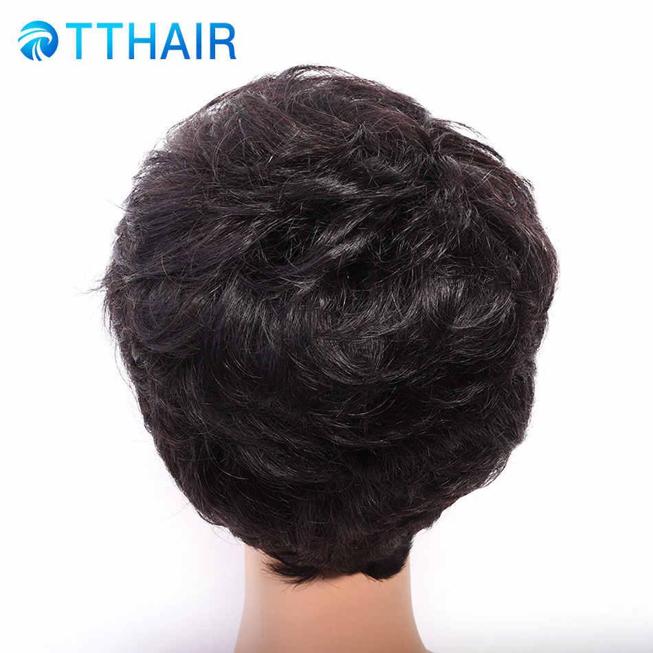 TTHAIR короткий Боб натуральные волосы парики для Для женщин естественная волна естественный Цвет Remy 100% натуральные волосы машина сделала Роза сети парики