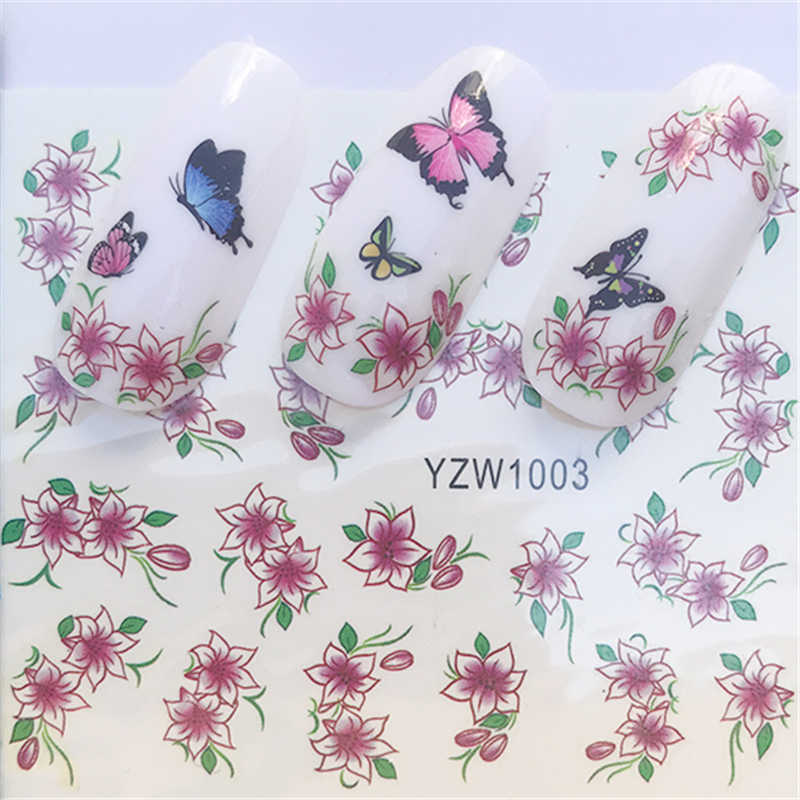 Water Nail Art Transfer Nail Stickers Water Decals Beauty Flowers Nail Design Manicure Stickers for Nails Decorations Tools