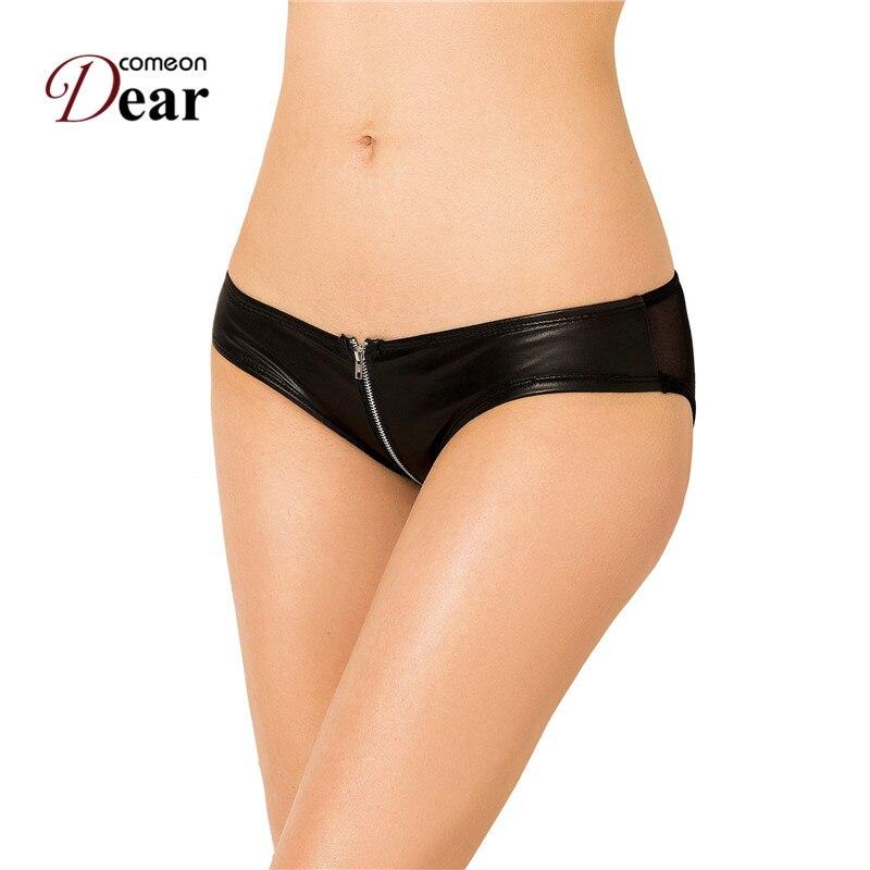 pj5127 comeondear womens underwear lingerie in pelle nera con cerniera mutandine plus size mutandine erotici effetto