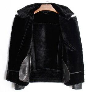 Image 3 - Free shipping.Mens plus size genuine leather jacket.motor biker sheep fur coat,winter warm 100% sheepskin clothes.soft shearling