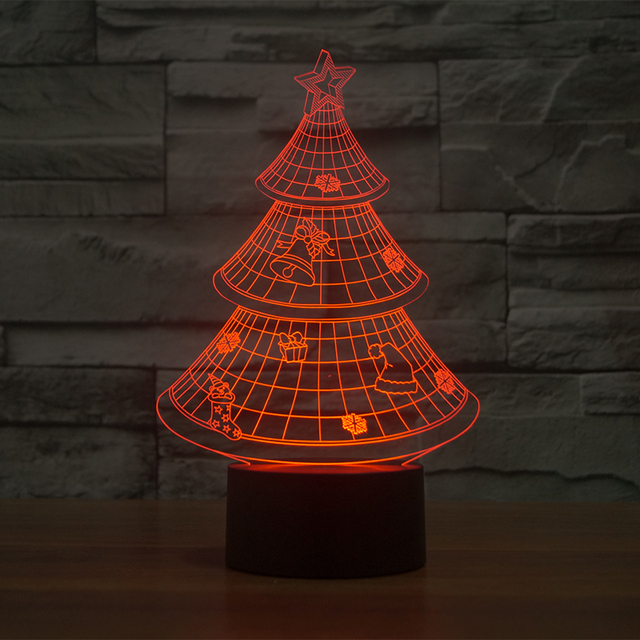 3d illusion lamp led decoration lights led christmas tree night lamp 7 color 3d lights - Led Christmas Tree