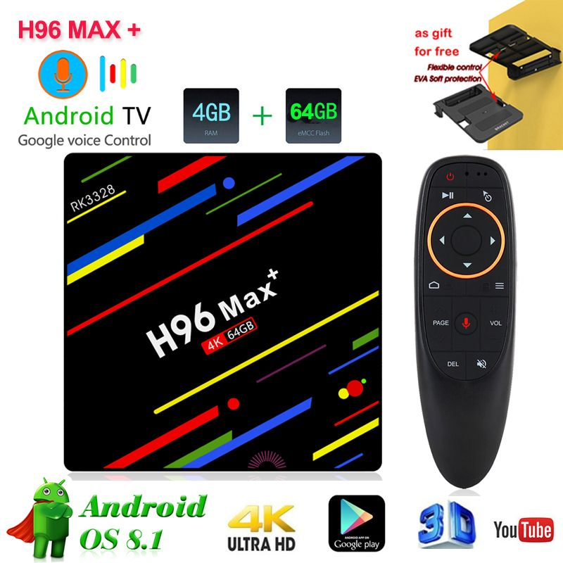 H96 MAX Plus Smart TV Box Android 8.1 Media Player Quad Core 4gb ROM 64gb RAM 2.4g/5.0 ghz Wifi Set Top Box with voice control