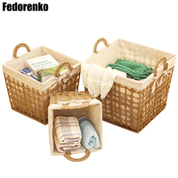Storage Basket Cotton Linen Fabric Dirty Clothes Laundry Wovening Baskets with Handle Small Large Home Sundries Neatening Boxes