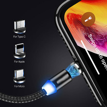 2019 1M Magnetic Charge Cable Micro USB For iPhone XR XS Max X Magnet Charger Type C LED Charging Wire Cord