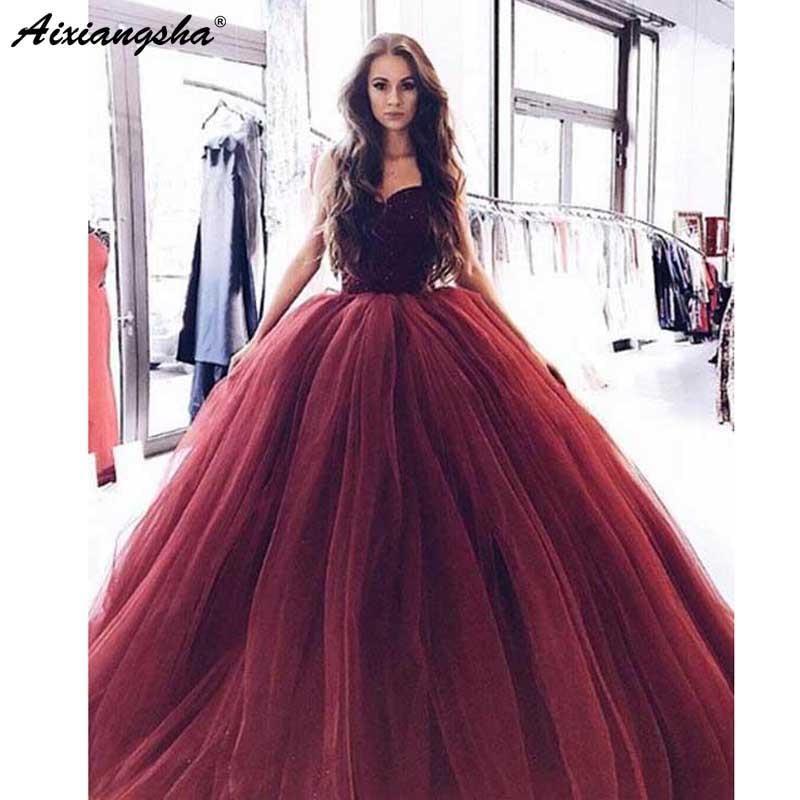 Bungundy Muslim Evening Dresses 2018 Ball Gown Sweetheart Tulle Bodice Beaded vestidos de fiesta de noche Long Prom Evening Gown