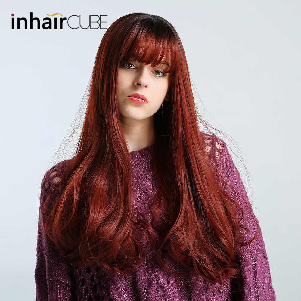 Inhair Cube 26 inch Synthetic Wigs Dark Brown Long Curly  Middle-part Thin Flat Bangs Simulation Scalp For White/Black Women