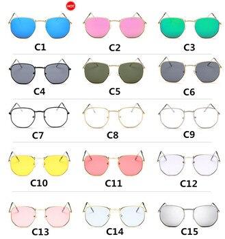2019 أزياء المرأة العلامة التجارية مصمم إطار صغير مضلع واضح عدسة النظارات الشمسية النظارات gafas oculos دي سول uv400 1