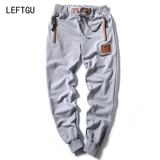 New 2017 Fashion Men's Pants men Cotton jogger pants Casual style Sweatpants Zipper pocket Men's Trousers black navy blue gray