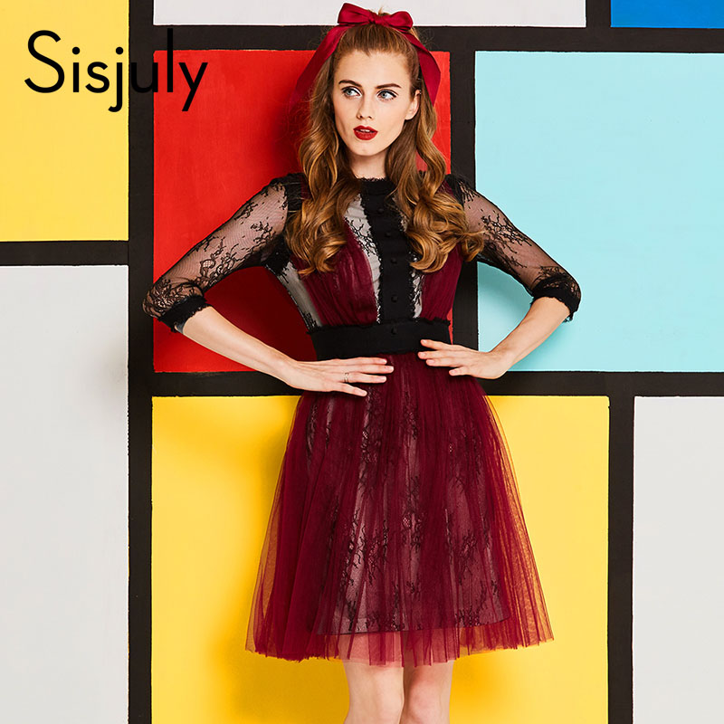 Sisjuly vintage women dress spring lace mesh a-line autumn party dress round neck evening club patchwork girls backless dress
