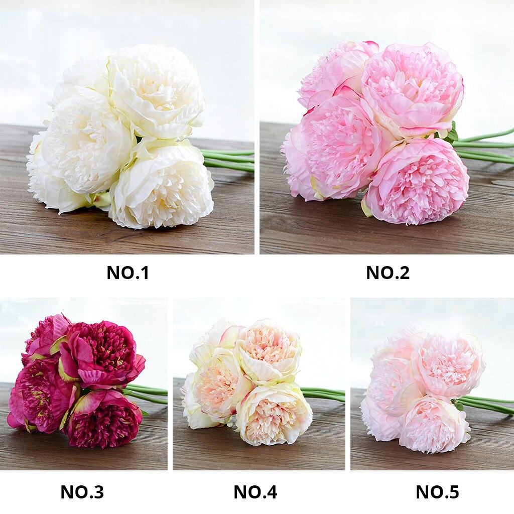 5 Heads Diy Artificial Flowers Peony Bouquet Vivid Fake Silk Flowers