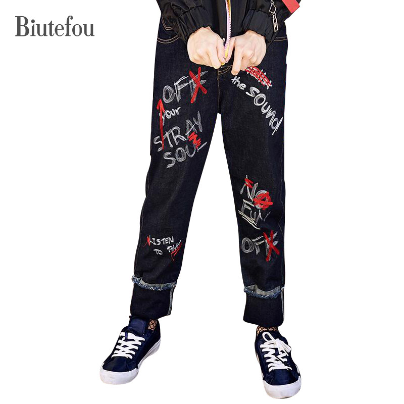 2017 New arrival autumn women fashion embroidery Jeans Hip hop streetwear letter graffiti straight Jeans