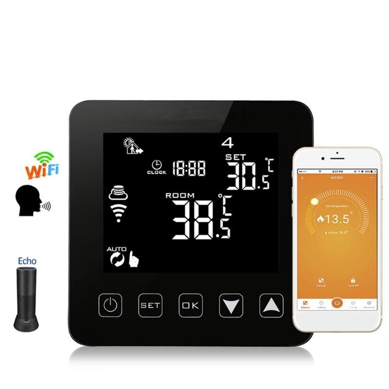 Wi-Fi программируемый термостат Echo Alexa Голосовое управление Электрический пол с подогревом комнатный контроль температуры 16A 100-240 В