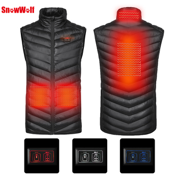 SNOWWOLF 2019 Men Winter Heated Vest USB Infrared heating Jacket  Carbon Fiber Electric Thermal Waistcoat Fishing Clothes