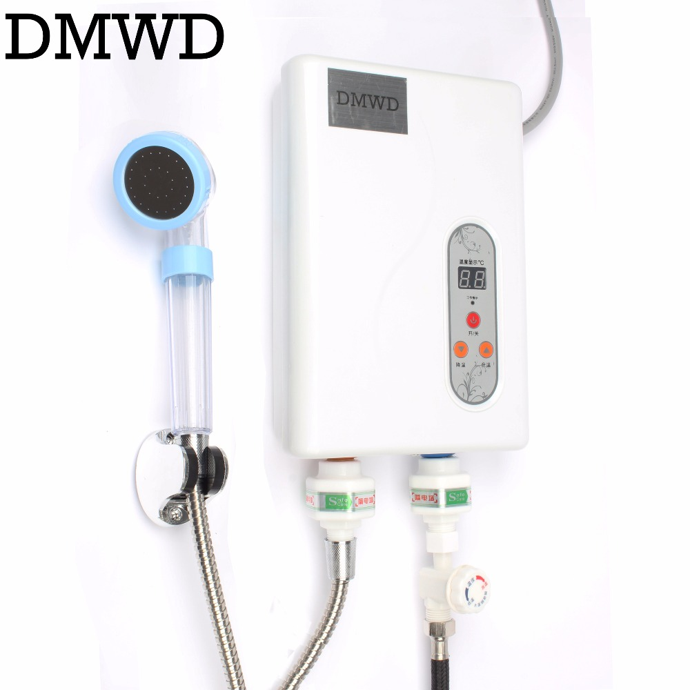 DMWD Instant Tankless water heater household electric quick heating tap shower machine LED thermostatic shower kitchen bathroom china sanitary ware chrome wall mount thermostatic water tap water saver thermostatic shower faucet
