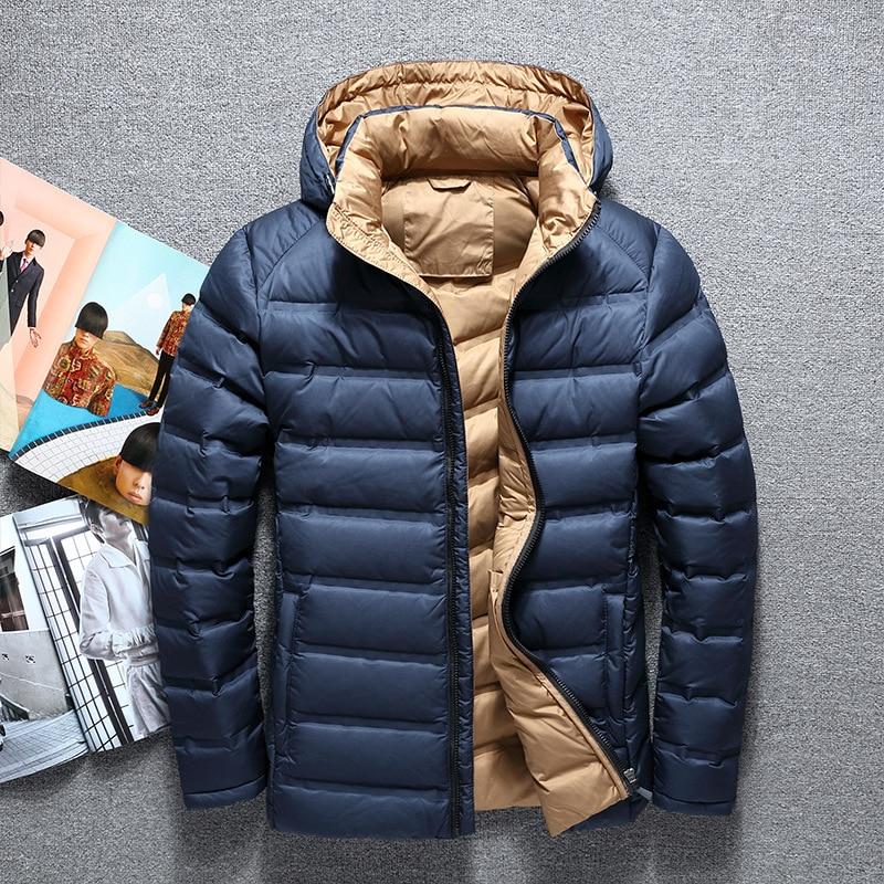 2017 Mann Neue Mode Freizeit Jacke Winter Männer Mantel Warme Weiß Unten Jacke Parka Männer Jacken Männer Leichte Hohe Dichte Faser