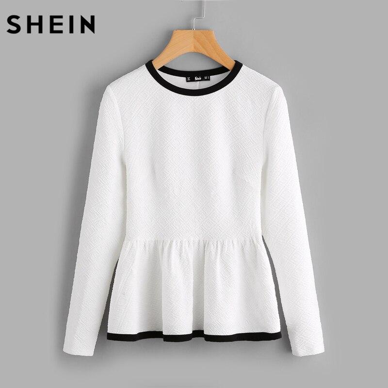 SHEIN Contrast Binding Textured Peplum Top White Women Blouses Autumn Long Sleeve Elegant Fall 2017 Fashion