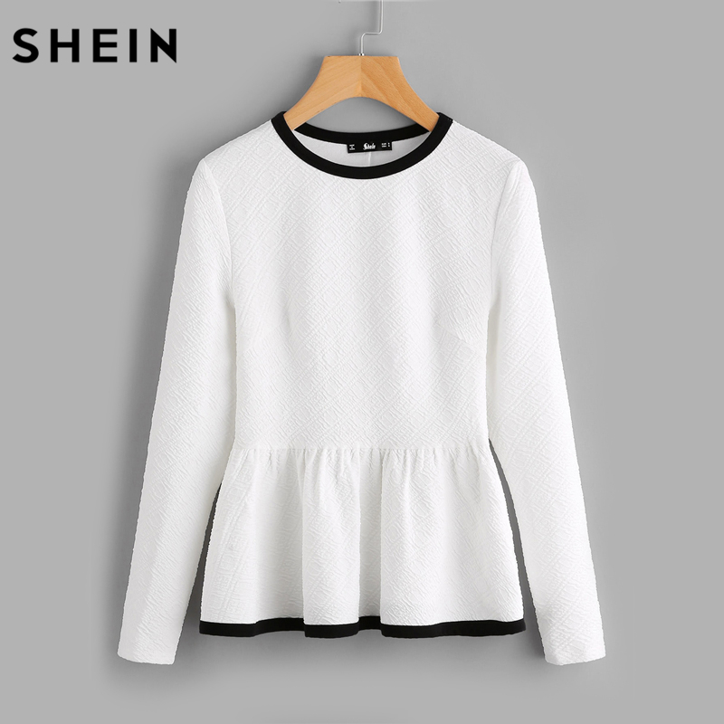 SHEIN Contrast Binding Textured Peplum Top White Women Blouses Autumn Long Sleeve Elegant Fall 2017 Fashion