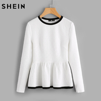 SHEIN Contraste Reliure Texturé Peplum Shirt Blanc Femmes Tops Blouses Automne À Manches Longues Élégant Automne 2017 Mode Blouse