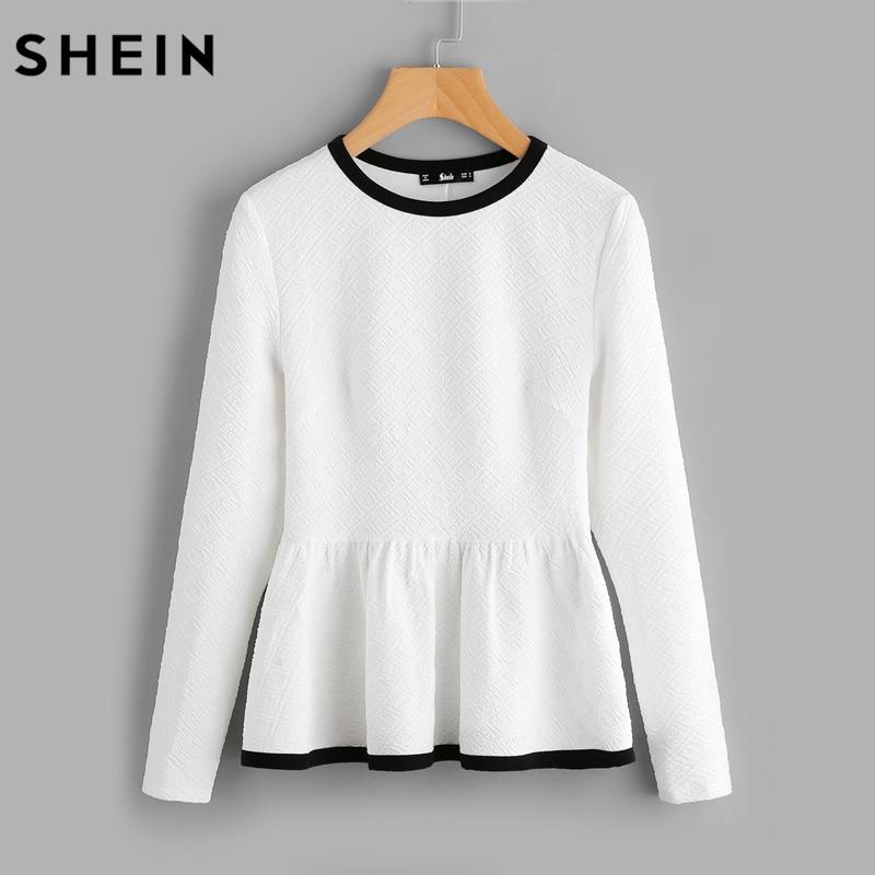 SHEIN Contrast Binding Textured Peplum Shirt White Women Tops Blouses Autumn Long Sleeve Elegant Fall 2017 Fashion Blouse