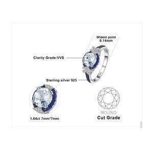 Image 5 - Jewelrypalace красиво площади создания Сапфир 3 Камни кольцо стерлингового серебра 925 Свадебные украшения Юбилей подарки