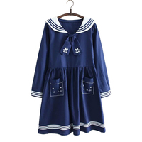 2016 Japanese Spring Summer Navy Style Sailor Suit Dress Gravata Cute Girl Soft Loose Small Fresh