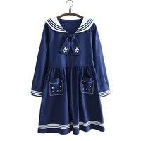 2016 Japanese Spring Summer Navy Style Sailor Suit Dress Gravata Cute Girl Soft Loose Small Fresh