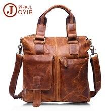 JOYIR 100 Genuine Leather Briefcase Shoulder Tote Messenger Bags Men Business Laptop font b Handbags b