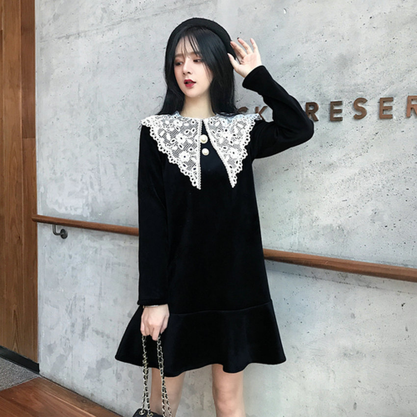 Womans Spring Velvet Dress Black Chic Velour Dresses Women Long Sleeve Loose Vestidos Classy Ruffle Hem A Line Robe Femme Dress in Dresses from Women 39 s Clothing
