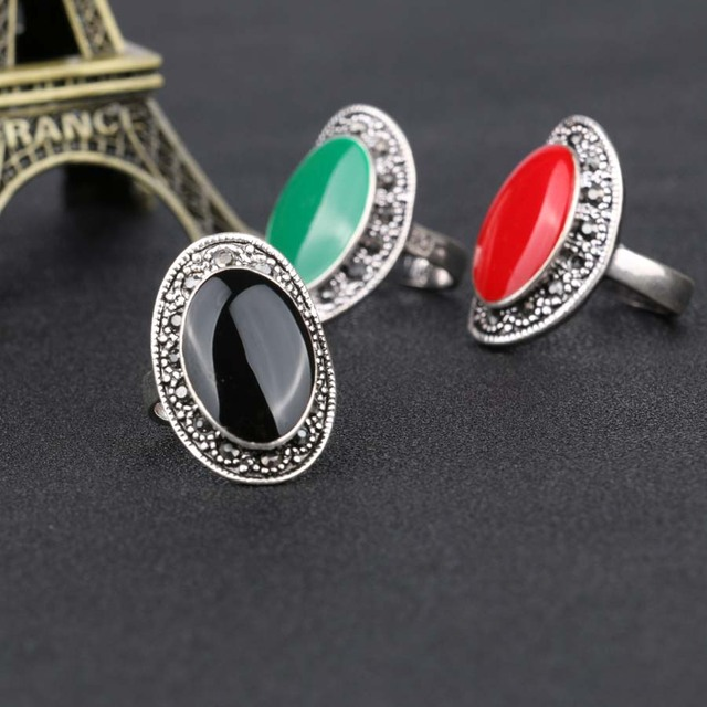 Women Silver Plated Vintage Enamel Ring