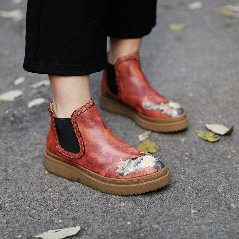 Vintage Women Handmade Ankle Boots Brush Color Genuine Leather Women Shoes Retro Style Casual Flat Boot Slip On handmade genuine leather boots vintage national trend women boots twiddlefish platform flat heels boots women shoes