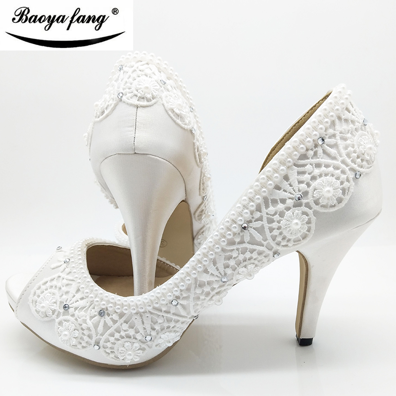 2018 New White Lace-up womens wedding shoes Peep Toe open side Party dress shoes woman High heels Pumps free shipping new arrival white wedding shoes pearl lace bridal bridesmaid shoes high heels shoes dance shoes women pumps free shipping party