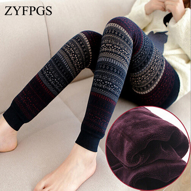 ZYFPGS 2019 Christmas Winter   Leggings   For Women Thick Warm Thick Fluff Black Fitness   Leggings   Wool Knitting Totem Hot MF785421