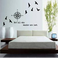 Not All Who Wander Are Lost Compasses Wall Stickers Home Decor Bedroom Vinyl DIY Birds Wall
