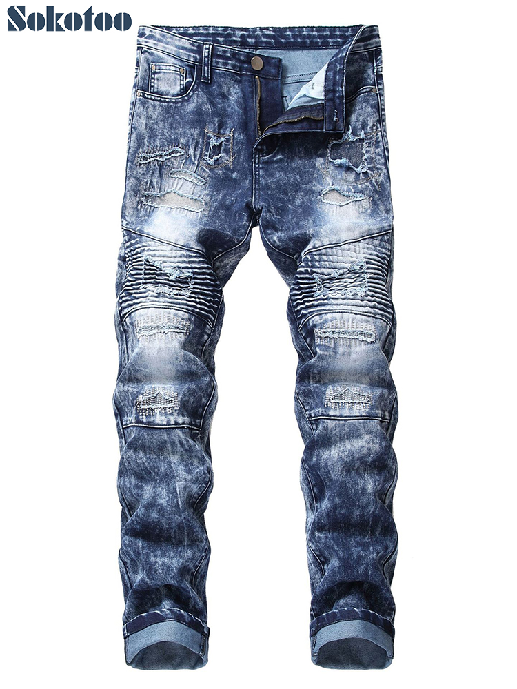 Sokotoo Men's slim straight ripped biker   jeans   for moto Patchwork holes snow washed stretch denim pants