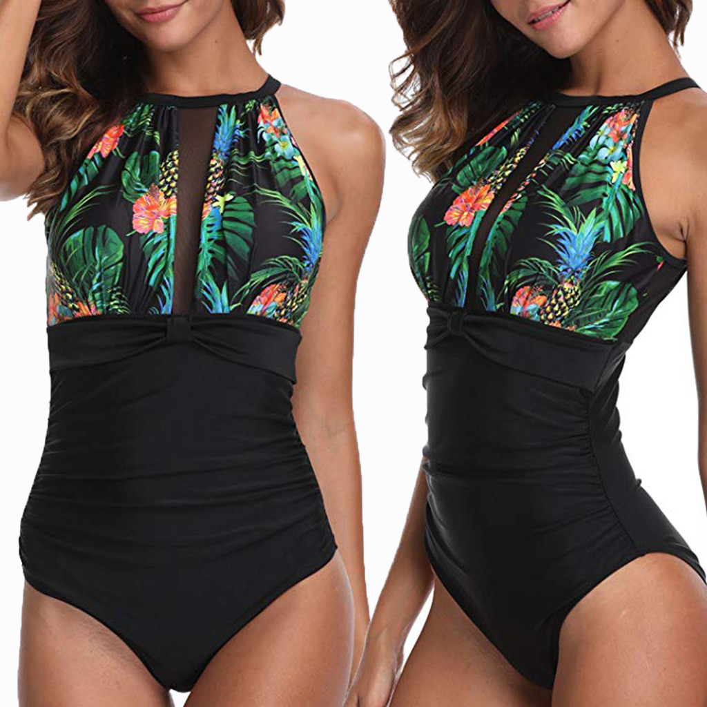 2019 Hot Sale Siamese Brief  Sets Women One Piece Flower Print Keyhole Mesh Plunge Ruched Monokini Swimwear Brief Sets #C