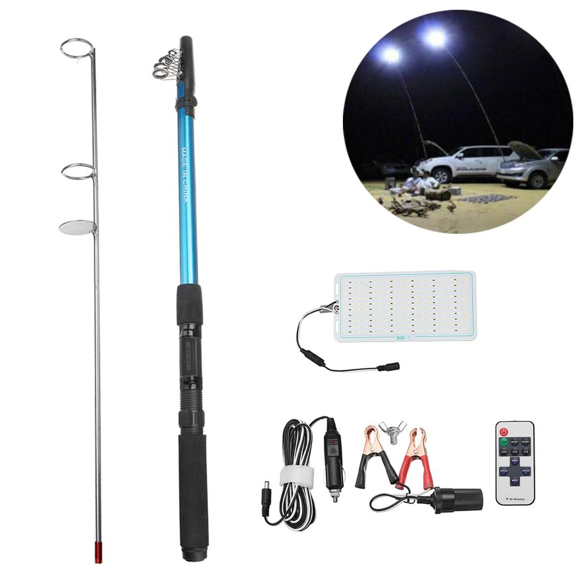 12V 5M 500W Car Rod Light Remote Control Camping Telescope Car Fishing Rod LED Light Lantern Outdoor Lighting Camping Lamp