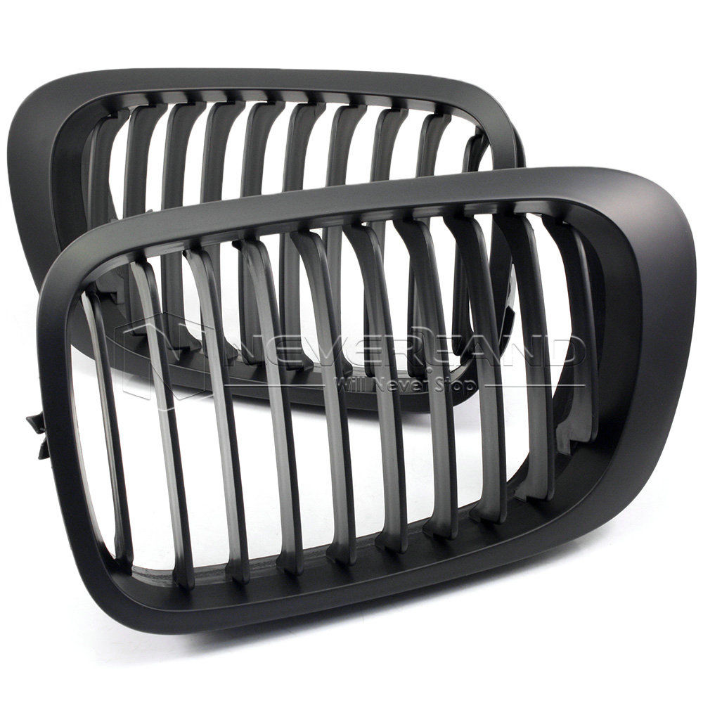 1Pair Matte Black ABS Plastic Car Front Kidney Racing Grill Grilles For BMW E46 2 Door 3 Series 1998-2001 Coupe 1 slat front kidney grill grille front bumper grid for bmw 3 series e46 pre lci 2 door 1998 2001 abs material grille