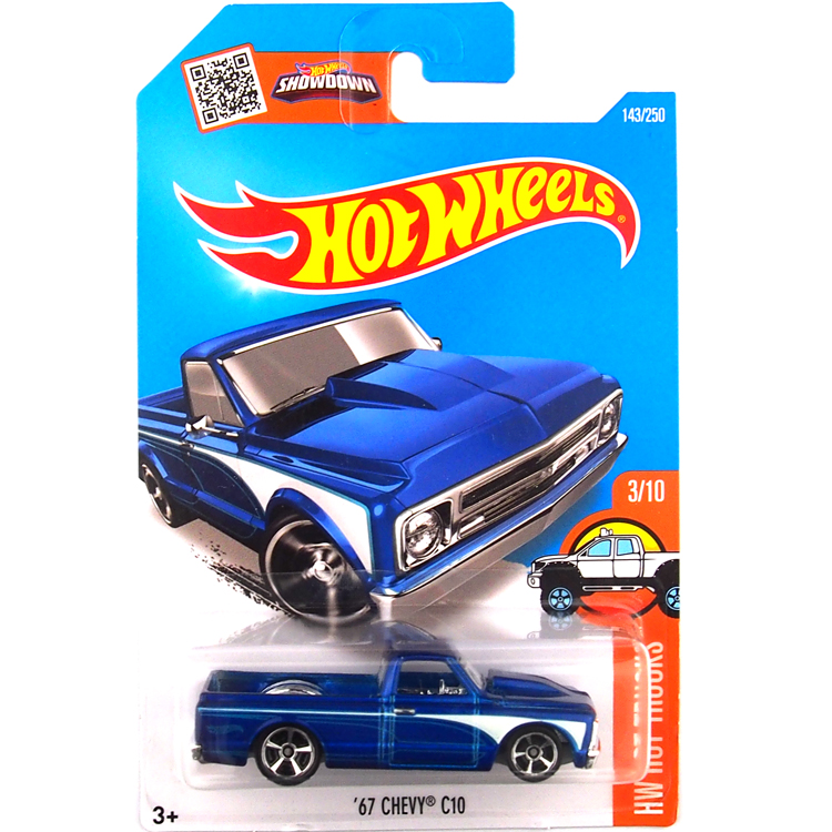 HotWheels Die-casts HW HOT TRUCKS: '67 CHEVY C10/Black/Blue/Toy/Mannequin Automobile/2016#143/250