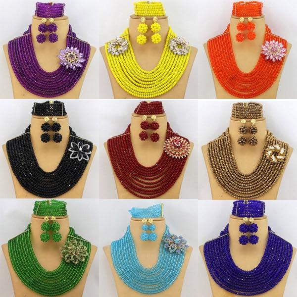 2016 Latest Bridal Gift African Beads Jewelry Set Nigerian Wedding Costume Necklace Earrings font b Bracelet