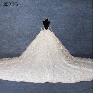 Image 2 - Real foto vestidos de novia vestido de baile vestido de casamento scoop decote manga completa trem real plus size rendas vestidos de noiva