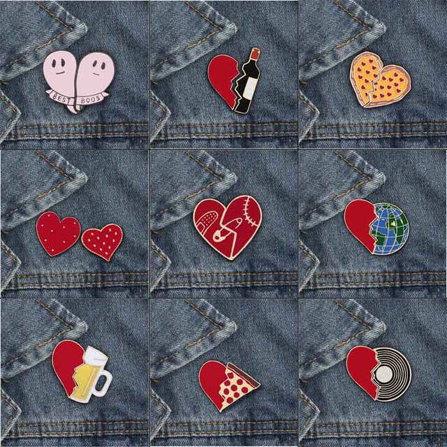 2pcs/set Broken heart globe semi-circular pizza cup wine bottle Enemel Pins Denim  BagCoat badge Fashion Jewelry for kids women