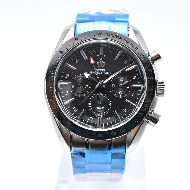 STEELBAGELSPORT Mannen Horloge Top Merk Luxe Chronograph Volledige rvs Automatische Mechanische Waterdichte Sport Militaire Horloge-in Mechanische Horloges van Horloges op  Groep 3