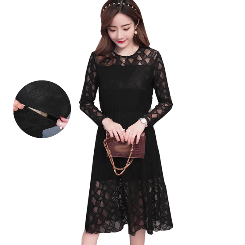 2018 Maternity Nursing Dress Black Hollow Out Lace Pregnancy Elegant Breastfeeding Dresses for Pregnant Spring Fashion Clothes stereoscopic beads floral lace maternity dresses hollow out summer autumn fashion lose pregnancy splicing clothing