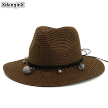 XdanqinX Womens Straw Hat Oversized Sun Visor Beach Breathable Hats For Women Sombrero New Foldable Adult Lady Jazz Cap