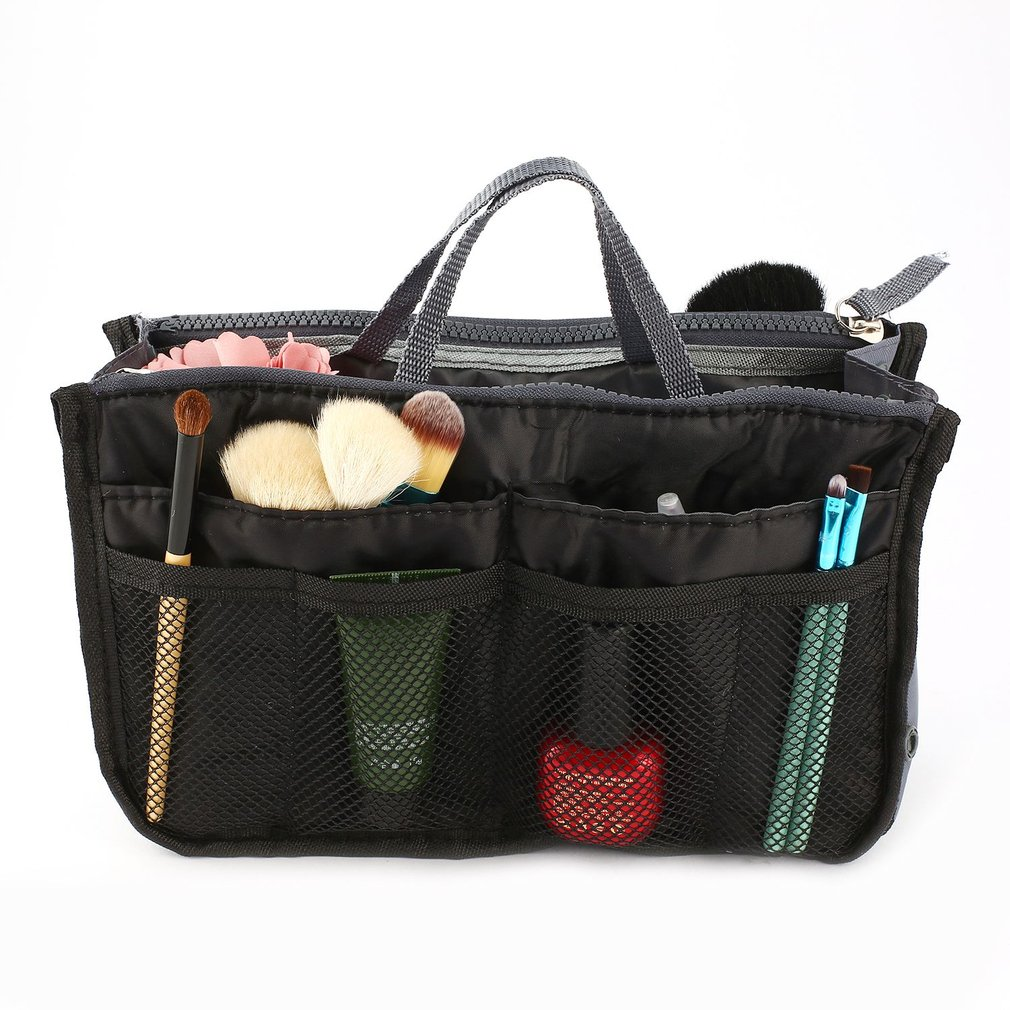 Multifunctional Double Zipper Polyester Makeup Bag Portable Travel Beauty Cosmetic Bag Make Up Toiletry Bag With Handle Set 1