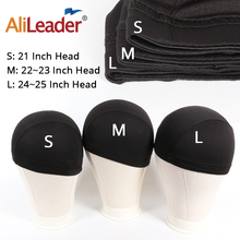 AliLeader L/M/S Cheap Elastic Mesh Dome Wig Cap for Making Human Hair Wigs Beige Black Spandex Net Glueless Hairnets Wig Liner